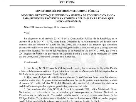 Subsecretaría de Desarrollo Regional y Administrativo (SUBDERE) da acceso a planilla con los Códigos Únicos Territoriales (Ministerio de Bienes Nacionales – 14/03/2018)